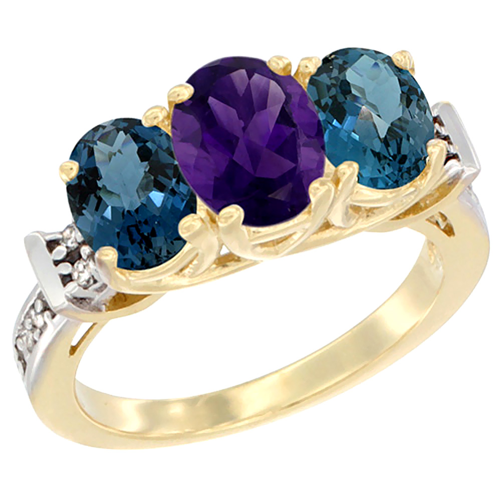 10K Yellow Gold Natural Amethyst & London Blue Topaz Sides Ring 3-Stone Oval Diamond Accent, sizes 5 - 10