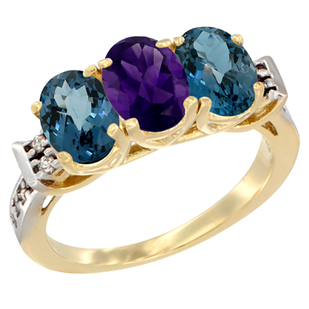 10K Yellow Gold Natural Amethyst & London Blue Topaz Sides Ring 3-Stone Oval 7x5 mm Diamond Accent, sizes 5 - 10