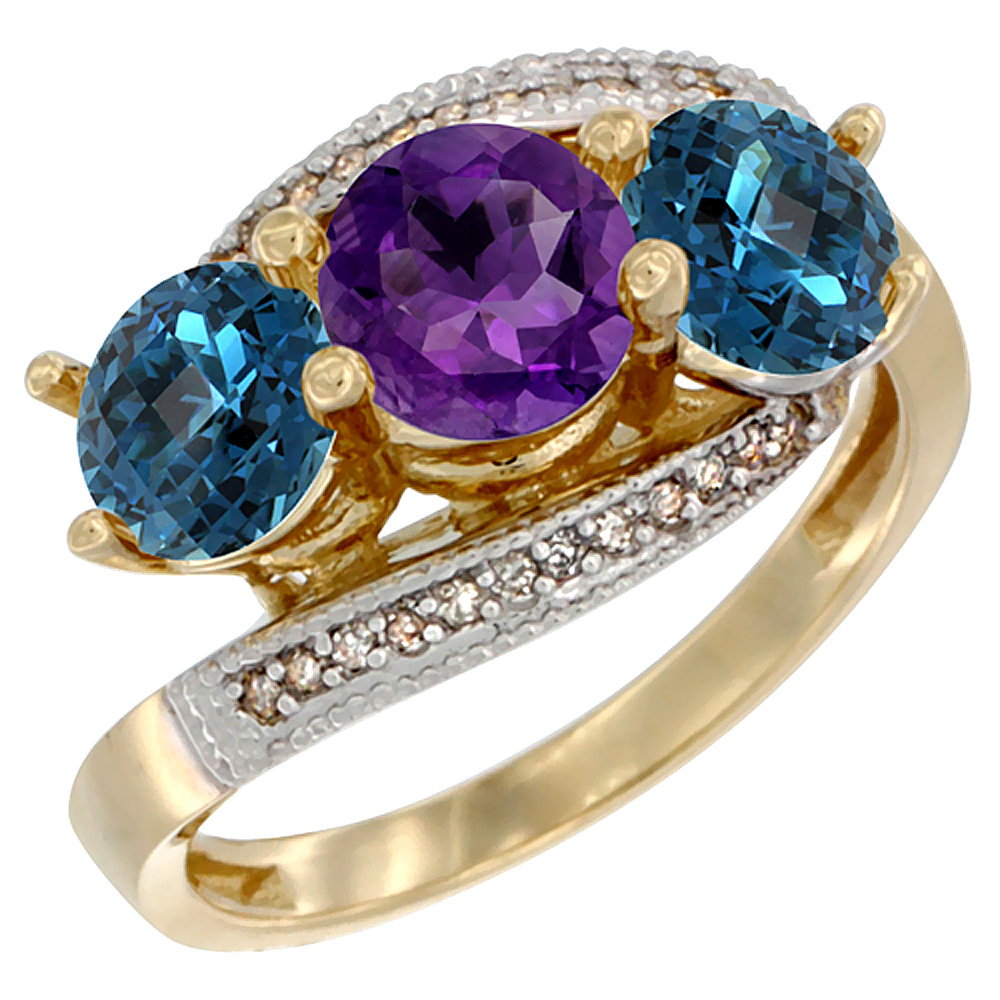 10K Yellow Gold Natural Amethyst & London Blue Topaz Sides 3 stone Ring Round 6mm Diamond Accent, sizes 5 - 10