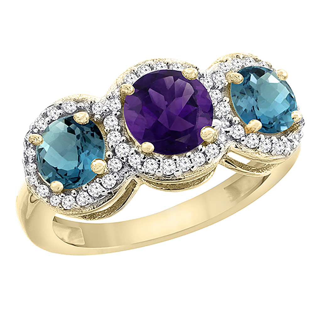10K Yellow Gold Natural Amethyst & London Blue Topaz Sides Round 3-stone Ring Diamond Accents, sizes 5 - 10