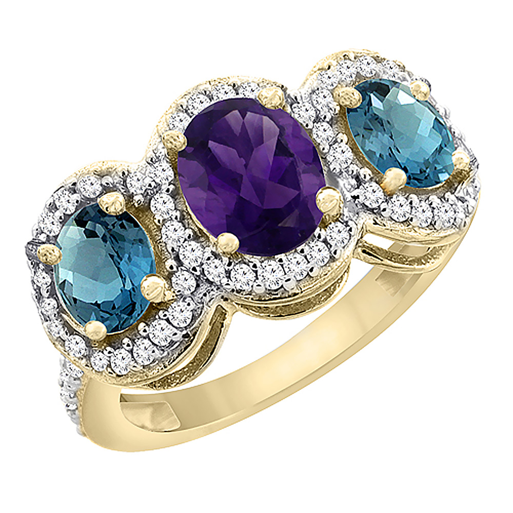 10K Yellow Gold Natural Amethyst & London Blue Topaz 3-Stone Ring Oval Diamond Accent, sizes 5 - 10