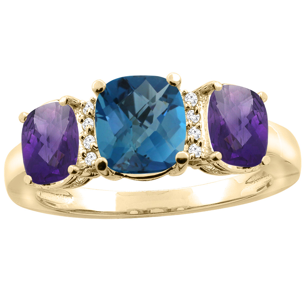 10K Yellow Gold Natural London Blue Topaz & Amethyst 3-stone Ring Cushion 8x6mm Diamond Accent, sizes 5 - 10