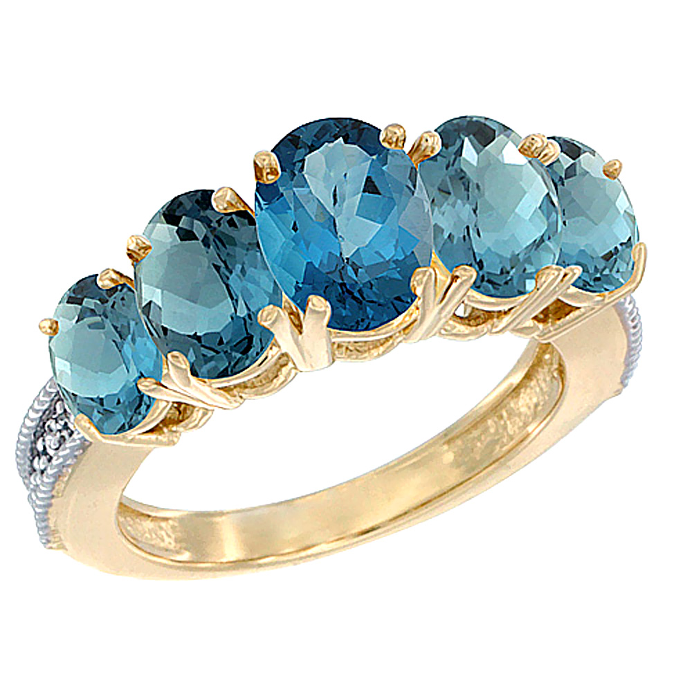 14k Yellow Gold Diamond Natural London Blue Topaz Ring 5 Stone Oval 8x6 Ctr