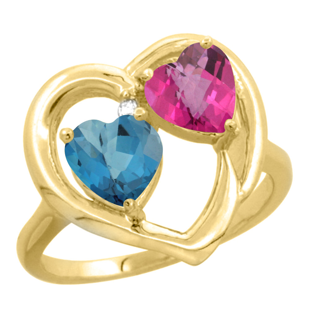 14K Yellow Gold Diamond Two-stone Heart Ring 6mm Natural London Blue Topaz & Pink Topaz, sizes 5-10