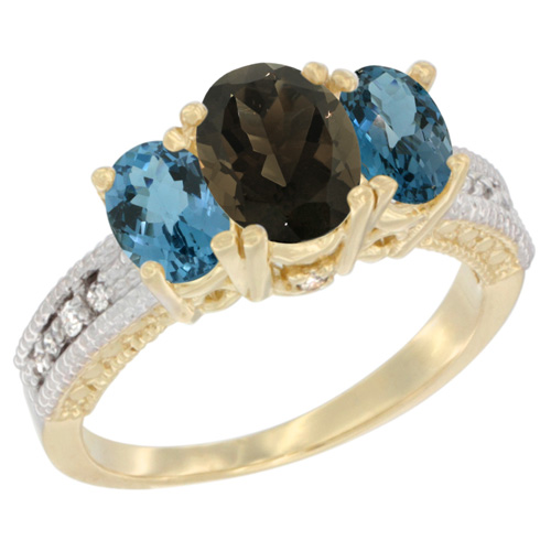 10K Yellow Gold Diamond Natural Smoky Topaz Ring Oval 3-stone with London Blue Topaz, sizes 5 - 10