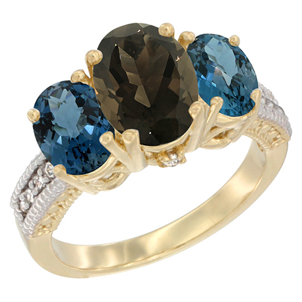 10K Yellow Gold Natural Smoky Topaz Ring Ladies 3-Stone 8x6 Oval with London Blue Topaz Sides Diamond Accent, sizes 5 - 10