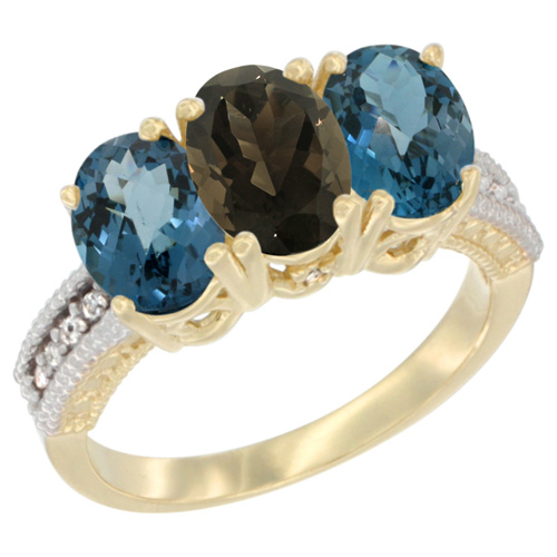 10K Yellow Gold Diamond Natural Smoky Topaz & London Blue Topaz Ring 3-Stone Oval 7x5 mm, sizes 5 - 10