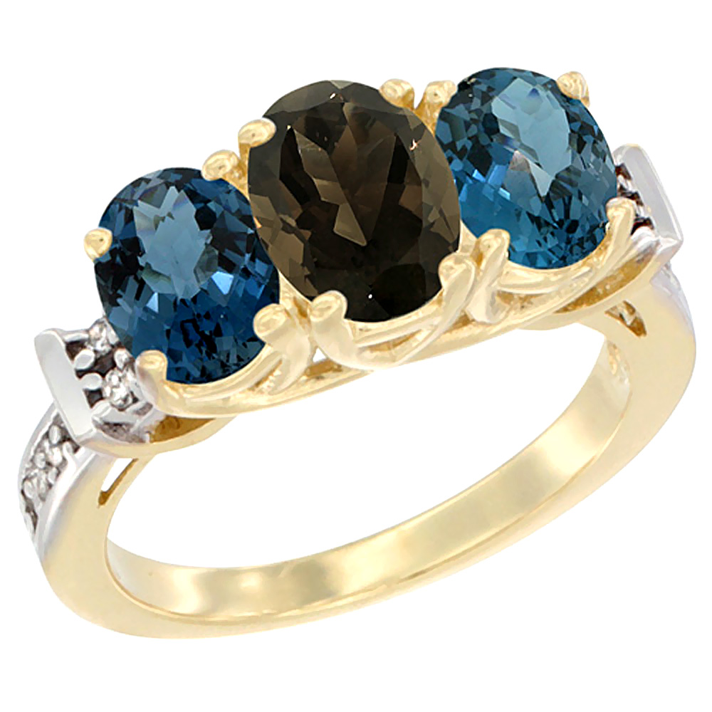 10K Yellow Gold Natural Smoky Topaz & London Blue Topaz Sides Ring 3-Stone Oval Diamond Accent, sizes 5 - 10