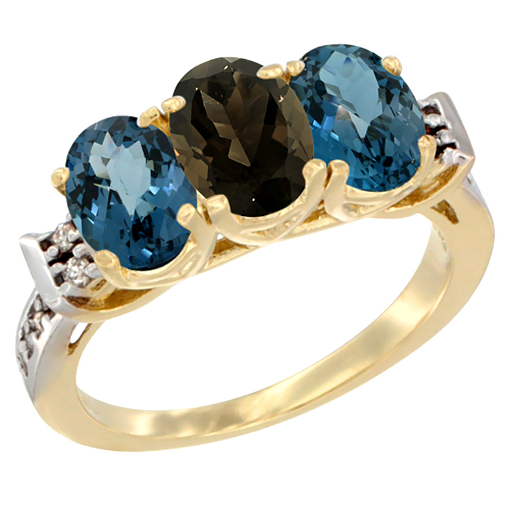 10K Yellow Gold Natural Smoky Topaz & London Blue Topaz Sides Ring 3-Stone Oval 7x5 mm Diamond Accent, sizes 5 - 10