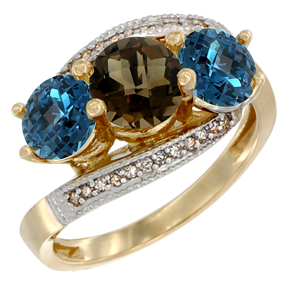 10K Yellow Gold Natural Smoky Topaz & London Blue Topaz Sides 3 stone Ring Round 6mm Diamond Accent, sizes 5 - 10