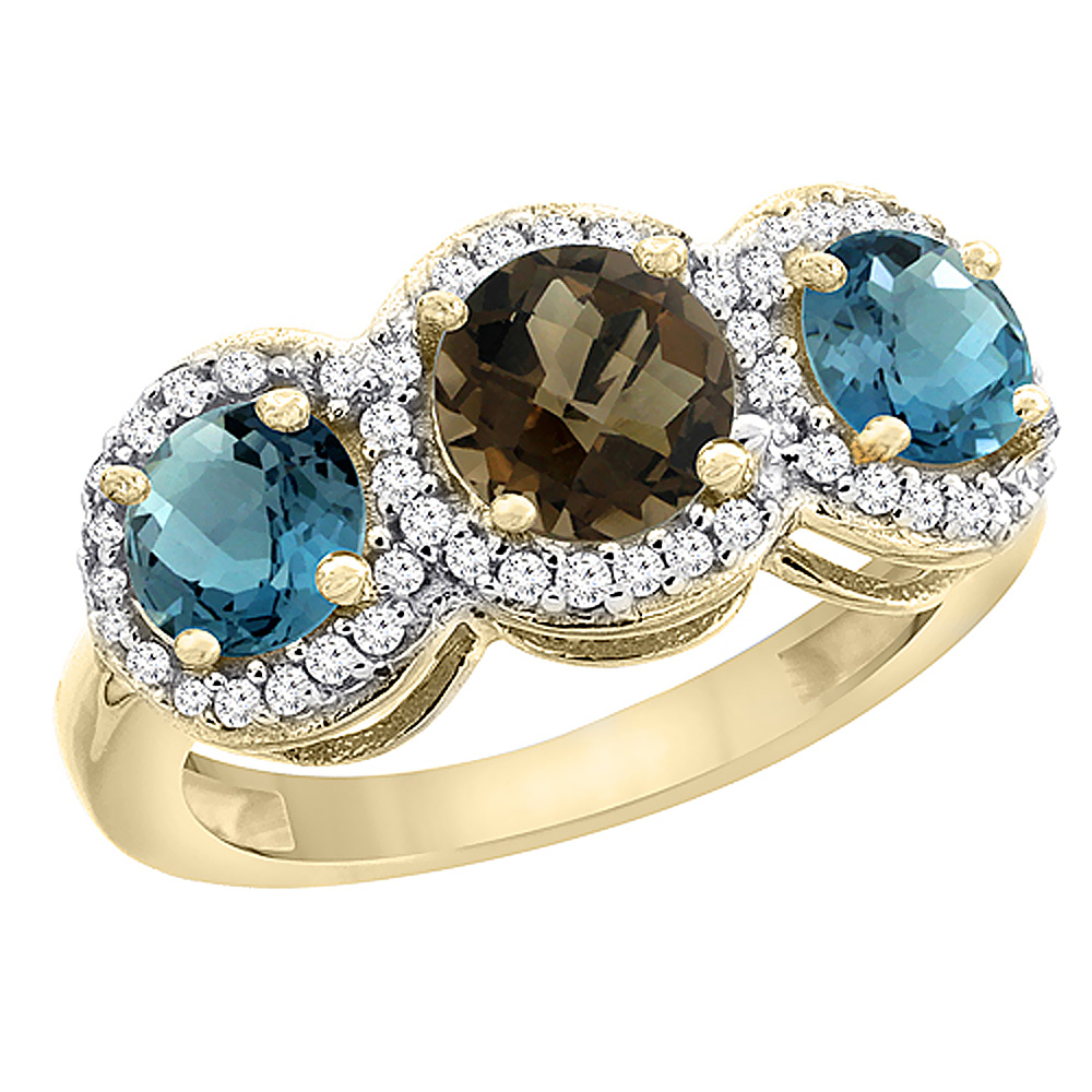 10K Yellow Gold Natural Smoky Topaz & London Blue Topaz Sides Round 3-stone Ring Diamond Accents, sizes 5 - 10