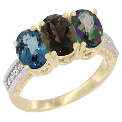 10K Yellow Gold Diamond Natural London Blue Topaz, Smoky Topaz & Mystic Topaz Ring 3-Stone Oval 7x5 mm, sizes 5 - 10