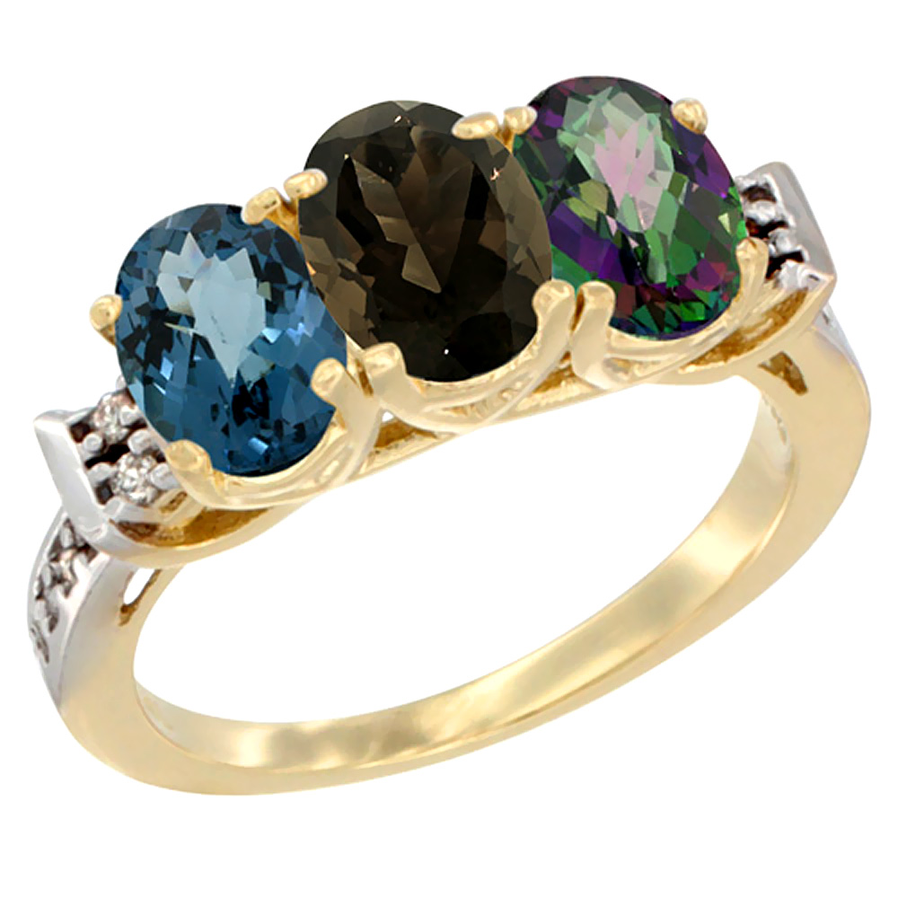 10K Yellow Gold Natural London Blue Topaz, Smoky Topaz & Mystic Topaz Ring 3-Stone Oval 7x5 mm Diamond Accent, sizes 5 - 10