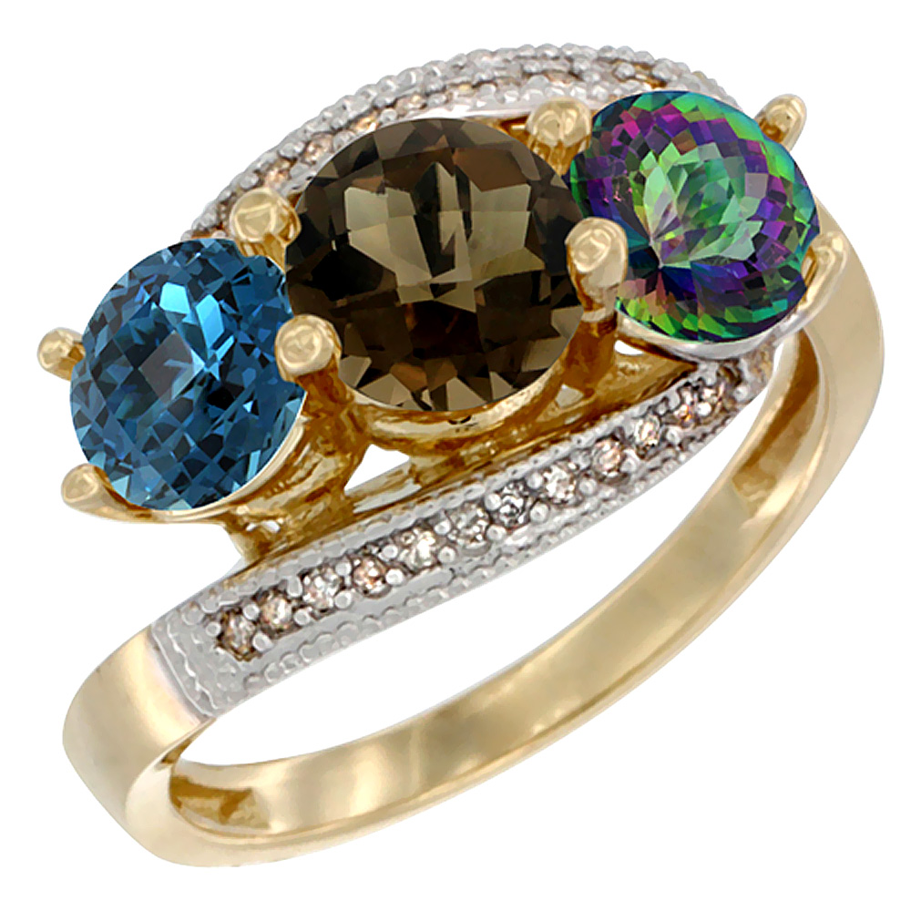 10K Yellow Gold Natural London Blue Topaz, Smoky & Mystic Topaz 3 stone Ring Round 6mm Diamond Accent, sizes 5 - 10