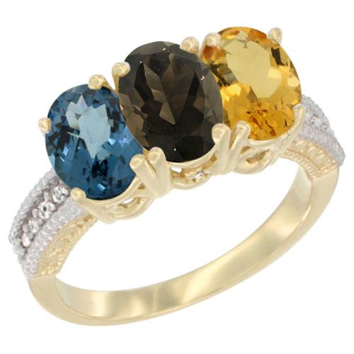 10K Yellow Gold Diamond Natural London Blue Topaz, Smoky Topaz & Citrine Ring 3-Stone Oval 7x5 mm, sizes 5 - 10