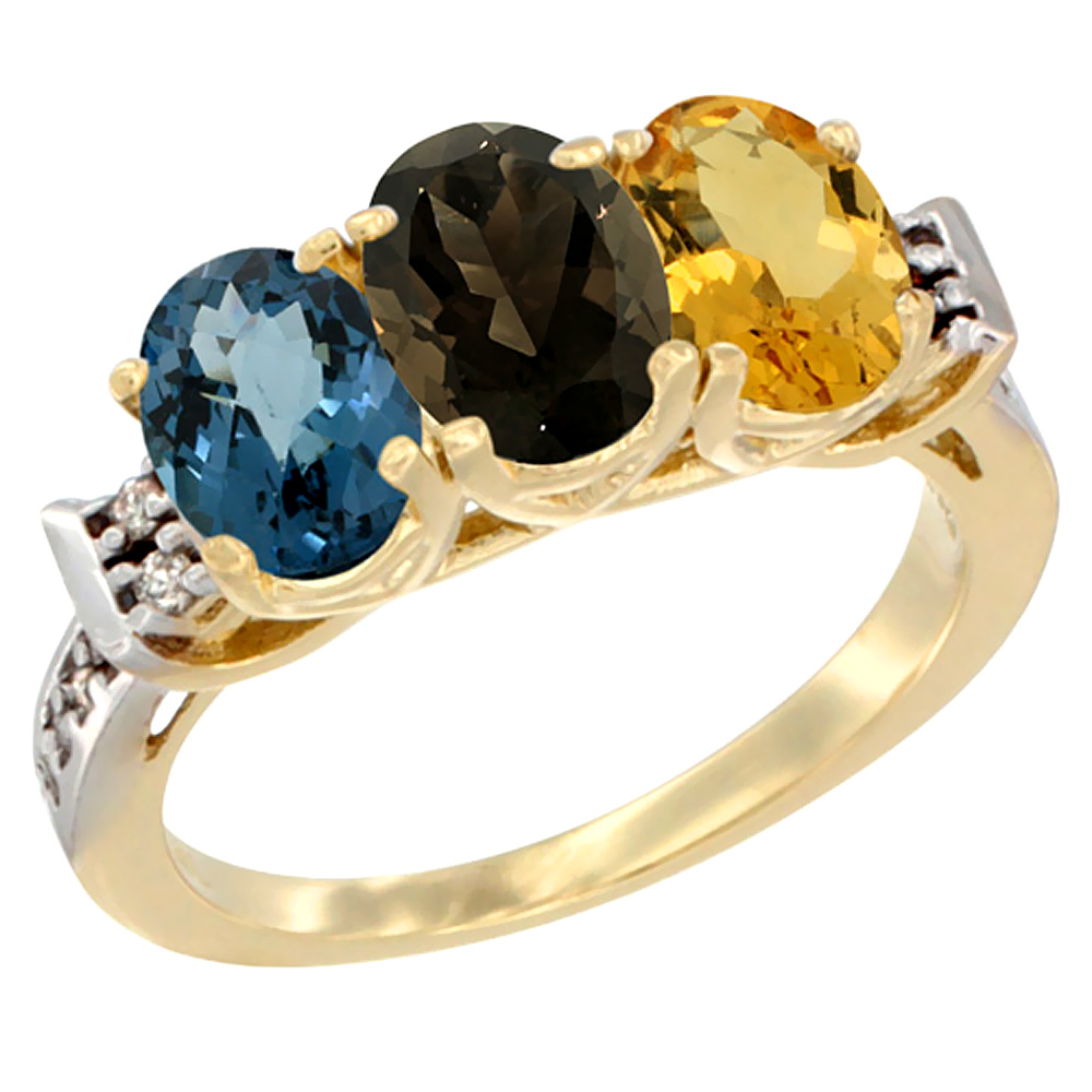 10K Yellow Gold Natural London Blue Topaz, Smoky Topaz & Citrine Ring 3-Stone Oval 7x5 mm Diamond Accent, sizes 5 - 10