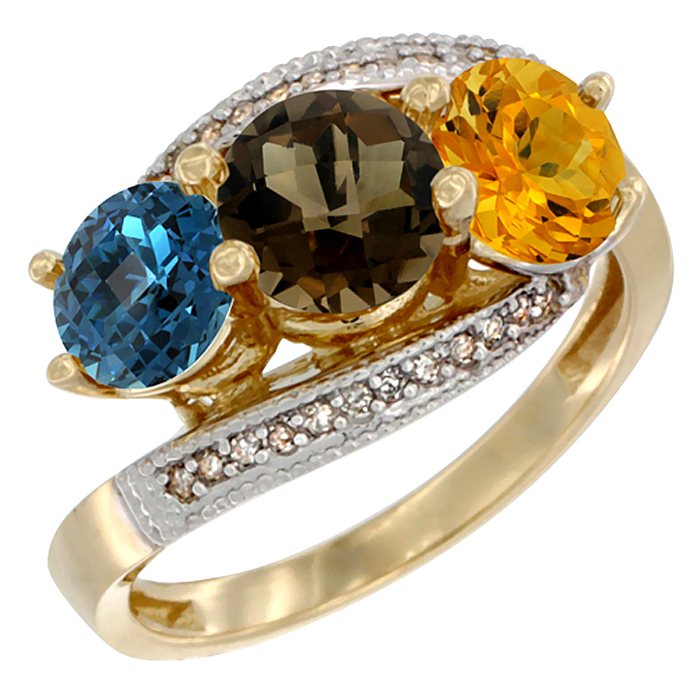 10K Yellow Gold Natural London Blue Topaz, Smoky Topaz & Citrine 3 stone Ring Round 6mm Diamond Accent, sizes 5 - 10