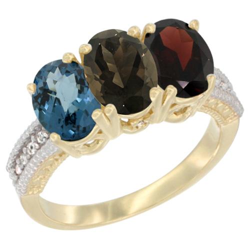 10K Yellow Gold Diamond Natural London Blue Topaz, Smoky Topaz & Garnet Ring 3-Stone Oval 7x5 mm, sizes 5 - 10
