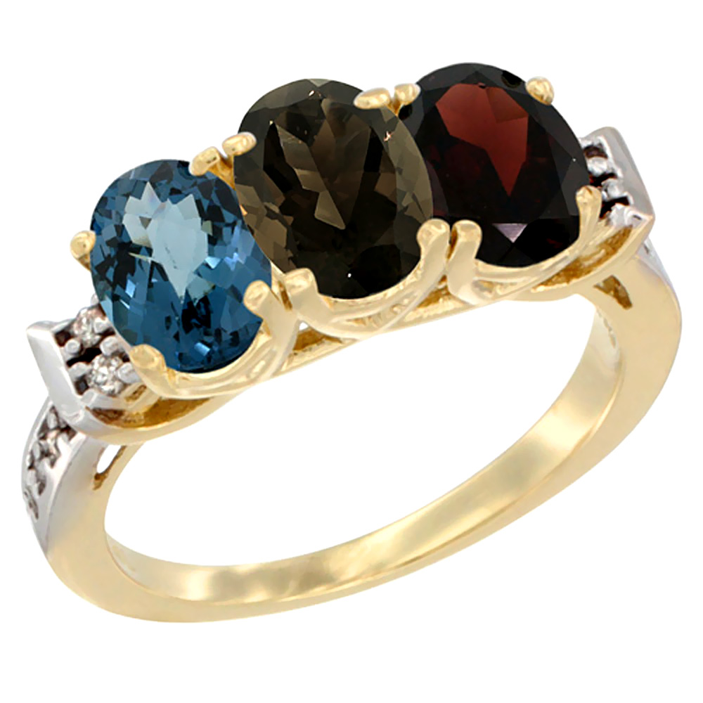10K Yellow Gold Natural London Blue Topaz, Smoky Topaz & Garnet Ring 3-Stone Oval 7x5 mm Diamond Accent, sizes 5 - 10