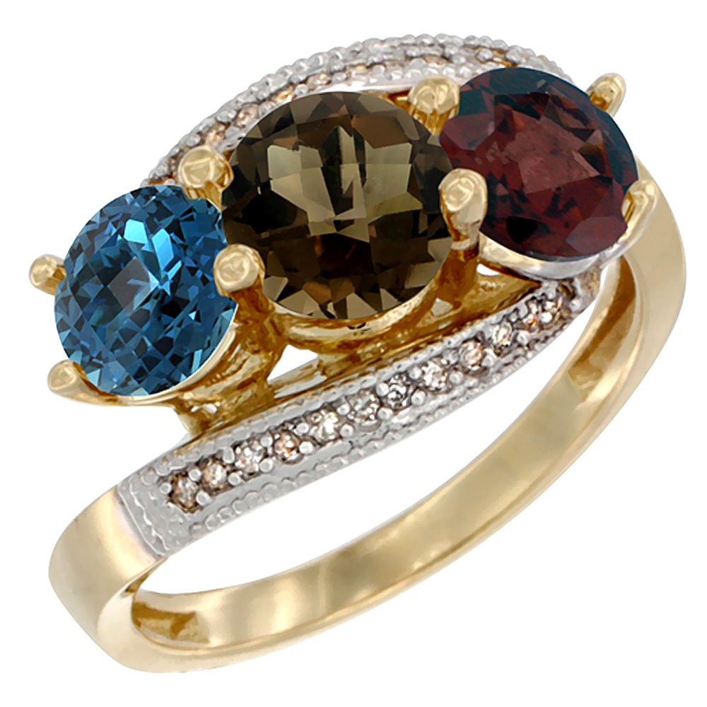 10K Yellow Gold Natural London Blue Topaz, Smoky Topaz & Garnet 3 stone Ring Round 6mm Diamond Accent, sizes 5 - 10