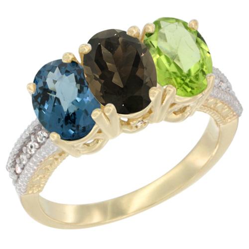 10K Yellow Gold Diamond Natural London Blue Topaz, Smoky Topaz & Peridot Ring 3-Stone Oval 7x5 mm, sizes 5 - 10