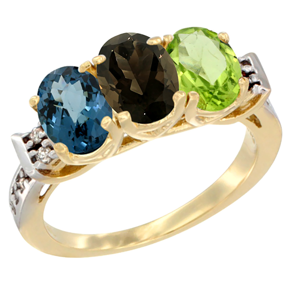 10K Yellow Gold Natural London Blue Topaz, Smoky Topaz & Peridot Ring 3-Stone Oval 7x5 mm Diamond Accent, sizes 5 - 10