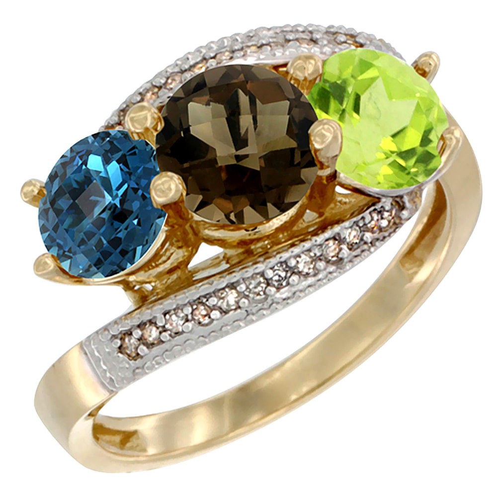 10K Yellow Gold Natural London Blue Topaz, Smoky Topaz & Peridot 3 stone Ring Round 6mm Diamond Accent, sizes 5 - 10