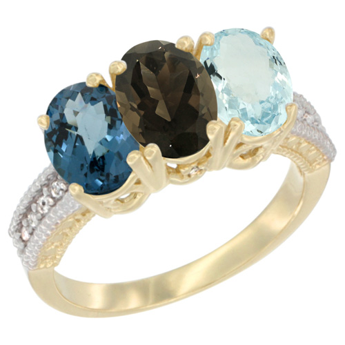 10K Yellow Gold Diamond Natural London Blue Topaz, Smoky Topaz & Aquamarine Ring 3-Stone Oval 7x5 mm, sizes 5 - 10