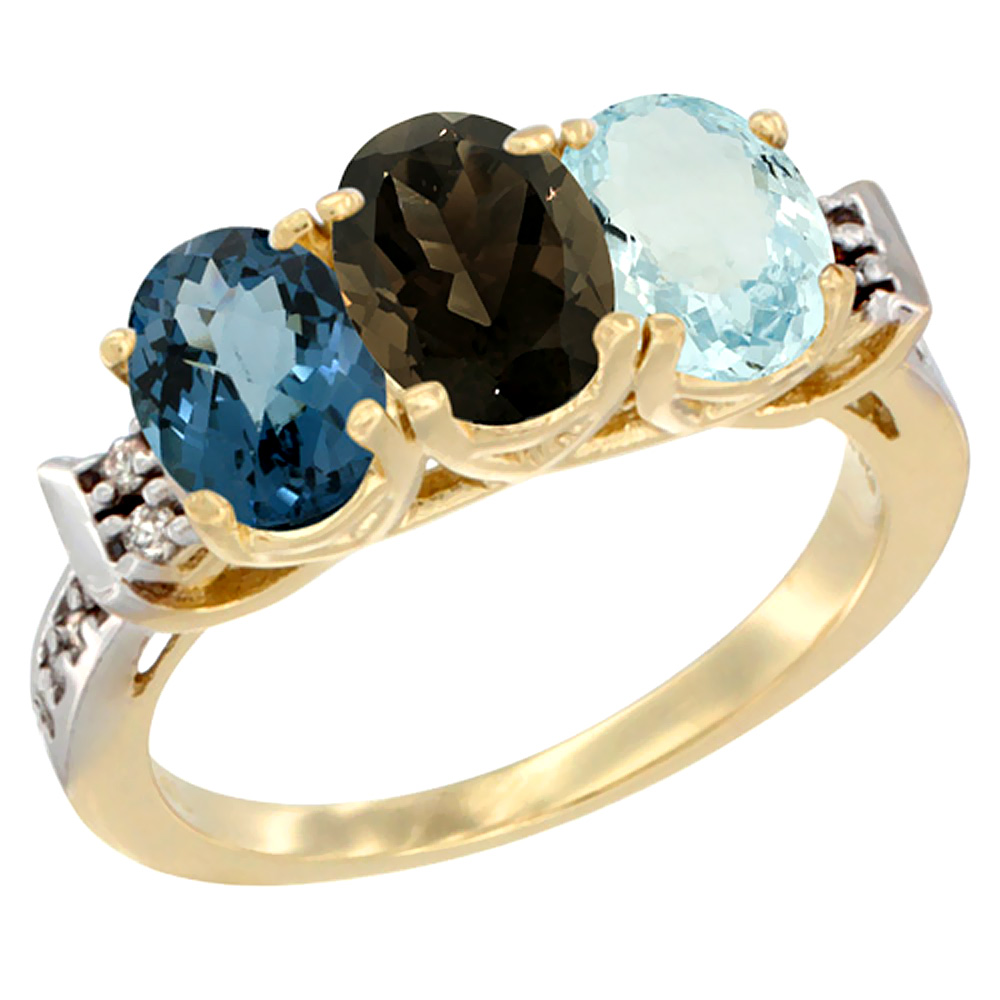 10K Yellow Gold Natural London Blue Topaz, Smoky Topaz & Aquamarine Ring 3-Stone Oval 7x5 mm Diamond Accent, sizes 5 - 10