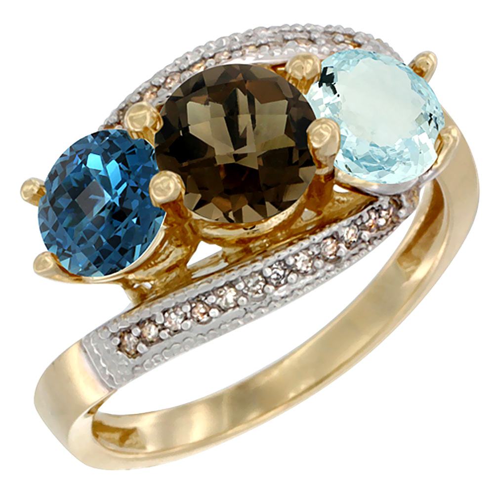 10K Yellow Gold Natural London Blue Topaz, Smoky Topaz & Aquamarine 3 stone Ring Round 6mm Diamond Accent, sizes 5 - 10