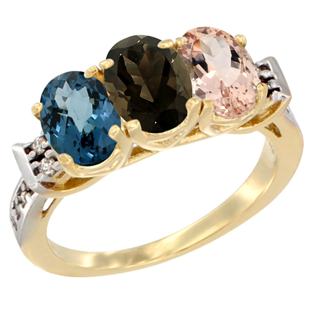 10K Yellow Gold Natural London Blue Topaz, Smoky Topaz & Morganite Ring 3-Stone Oval 7x5 mm Diamond Accent, sizes 5 - 10