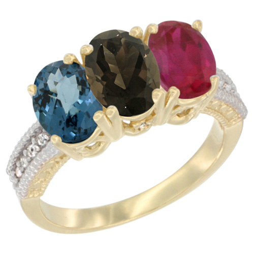 10K Yellow Gold Diamond Natural London Blue Topaz, Smoky Topaz & Ruby Ring 3-Stone Oval 7x5 mm, sizes 5 - 10