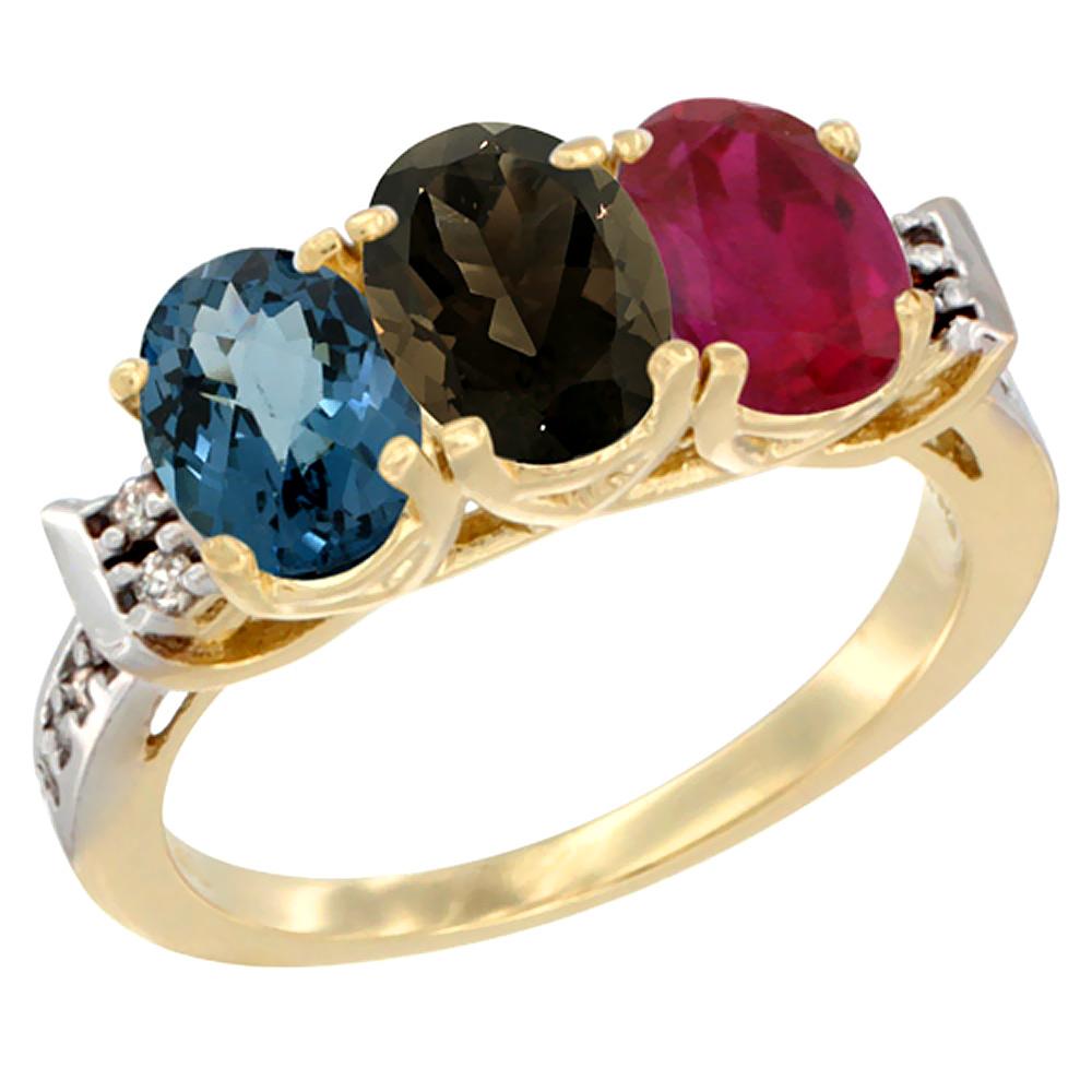 10K Yellow Gold Natural London Blue Topaz, Smoky Topaz & Enhanced Ruby Ring 3-Stone Oval 7x5 mm Diamond Accent, sizes 5 - 10