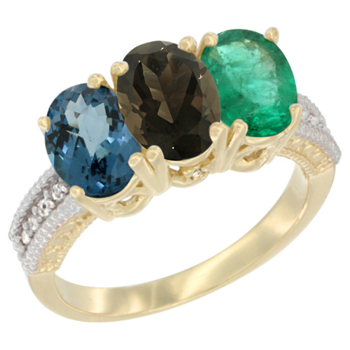 10K Yellow Gold Diamond Natural London Blue Topaz, Smoky Topaz & Emerald Ring 3-Stone Oval 7x5 mm, sizes 5 - 10