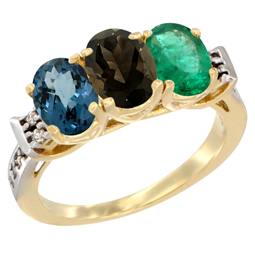 10K Yellow Gold Natural London Blue Topaz, Smoky Topaz & Emerald Ring 3-Stone Oval 7x5 mm Diamond Accent, sizes 5 - 10