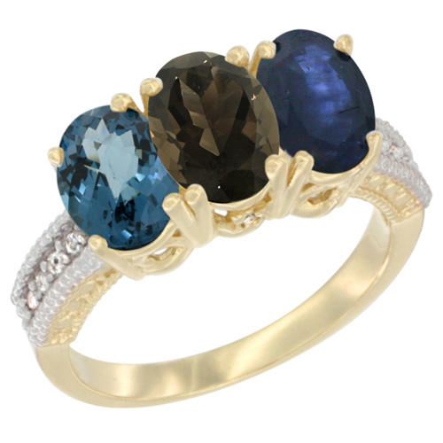 10K Yellow Gold Diamond Natural London Blue Topaz, Smoky Topaz & Blue Sapphire Ring 3-Stone Oval 7x5 mm, sizes 5 - 10