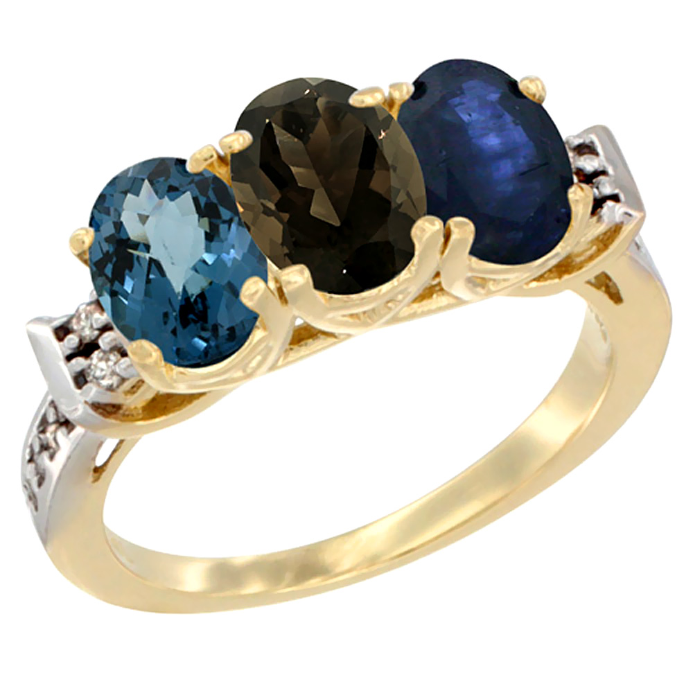 10K Yellow Gold Natural London Blue Topaz, Smoky Topaz & Blue Sapphire Ring 3-Stone Oval 7x5 mm Diamond Accent, sizes 5 - 10