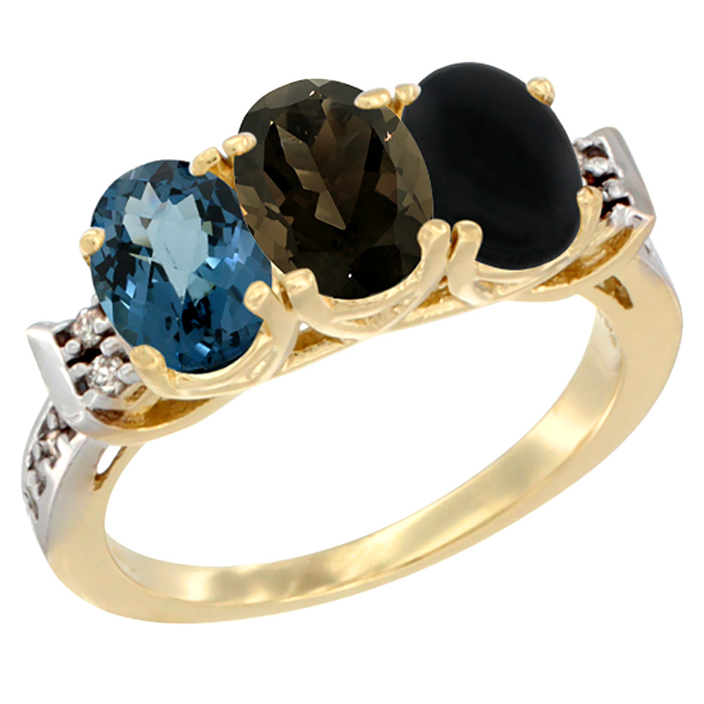10K Yellow Gold Natural London Blue Topaz, Smoky Topaz & Black Onyx Ring 3-Stone Oval 7x5 mm Diamond Accent, sizes 5 - 10