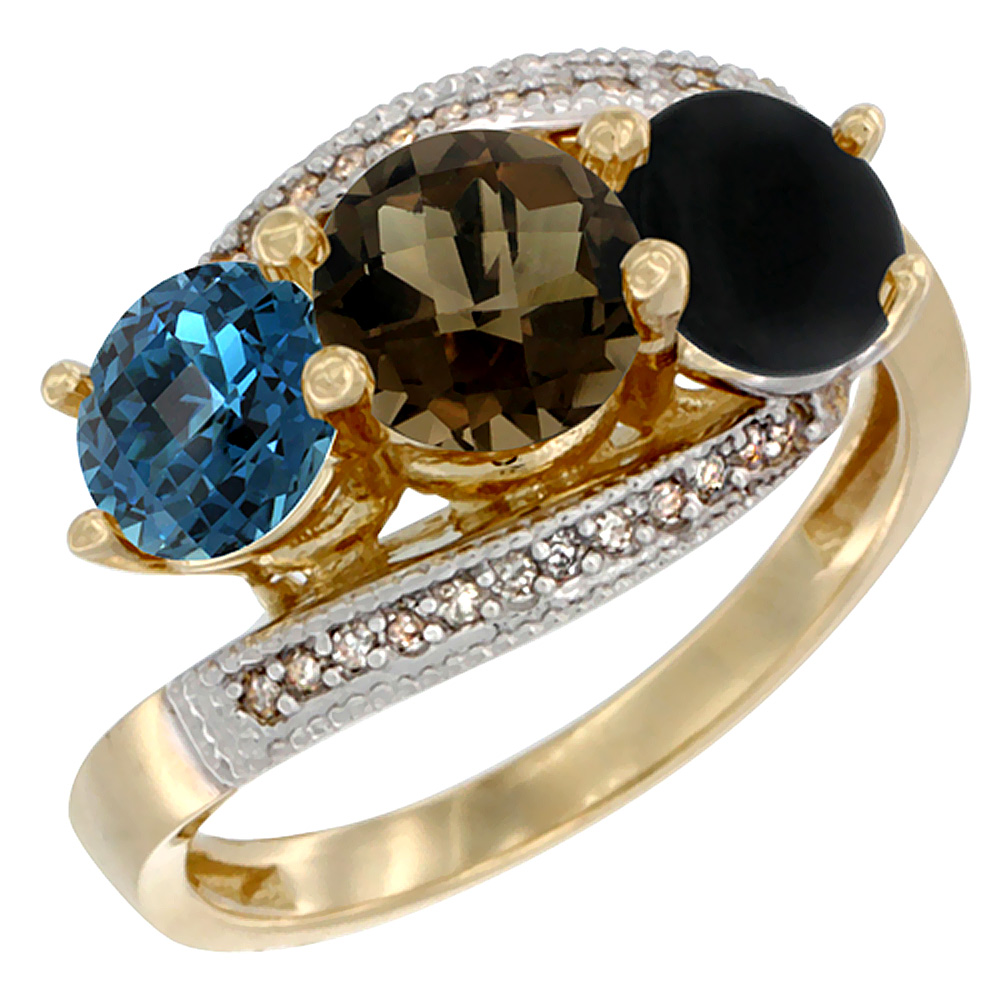 10K Yellow Gold Natural London Blue Topaz, Smoky Topaz & Black Onyx 3 stone Ring Round 6mm Diamond Accent, sizes 5 - 10