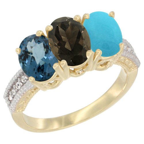 10K Yellow Gold Diamond Natural London Blue Topaz, Smoky Topaz & Turquoise Ring 3-Stone Oval 7x5 mm, sizes 5 - 10