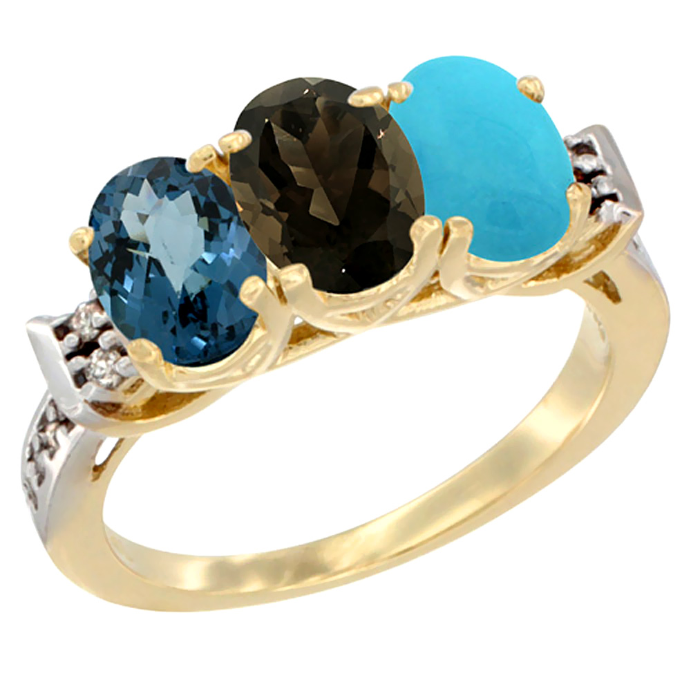 10K Yellow Gold Natural London Blue Topaz, Smoky Topaz & Turquoise Ring 3-Stone Oval 7x5 mm Diamond Accent, sizes 5 - 10