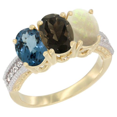 10K Yellow Gold Diamond Natural London Blue Topaz, Smoky Topaz & Opal Ring 3-Stone Oval 7x5 mm, sizes 5 - 10