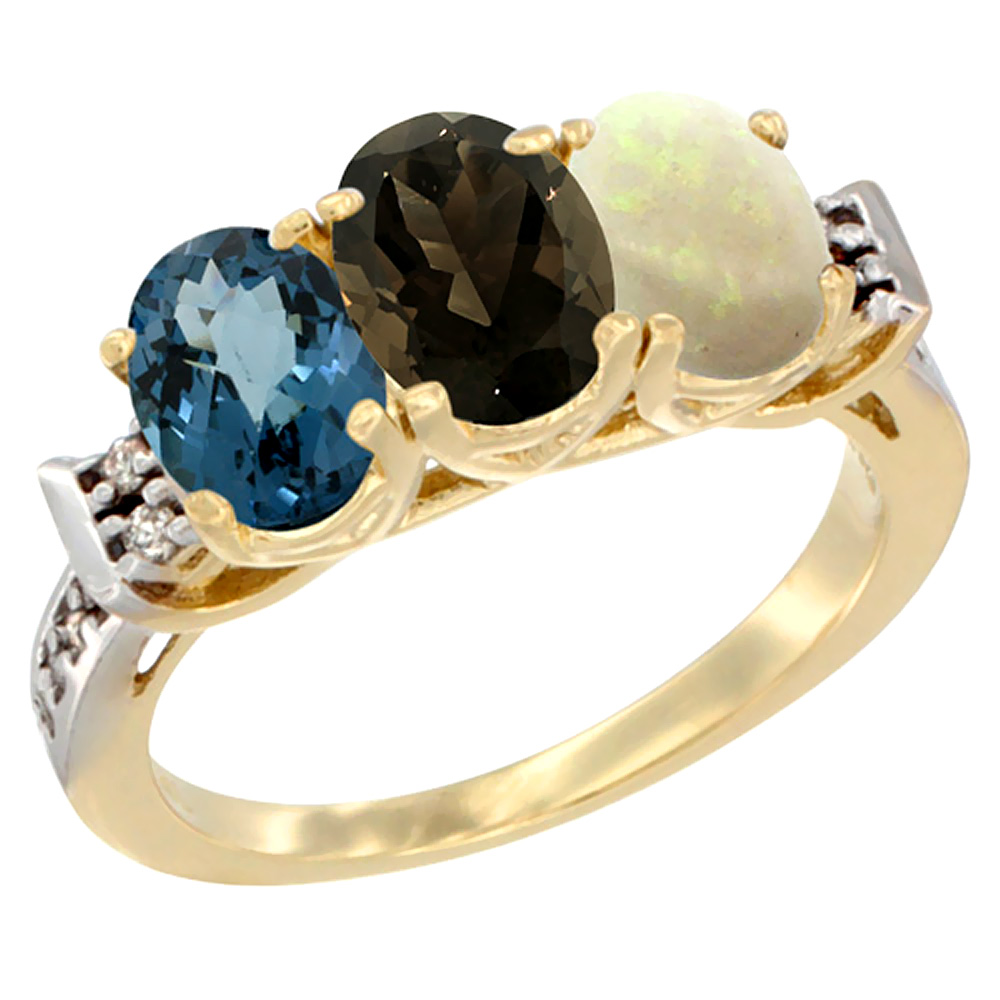 10K Yellow Gold Natural London Blue Topaz, Smoky Topaz & Opal Ring 3-Stone Oval 7x5 mm Diamond Accent, sizes 5 - 10