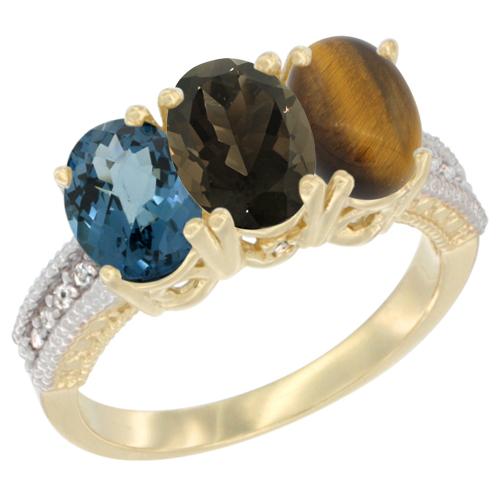10K Yellow Gold Diamond Natural London Blue Topaz, Smoky Topaz & Tiger Eye Ring 3-Stone Oval 7x5 mm, sizes 5 - 10