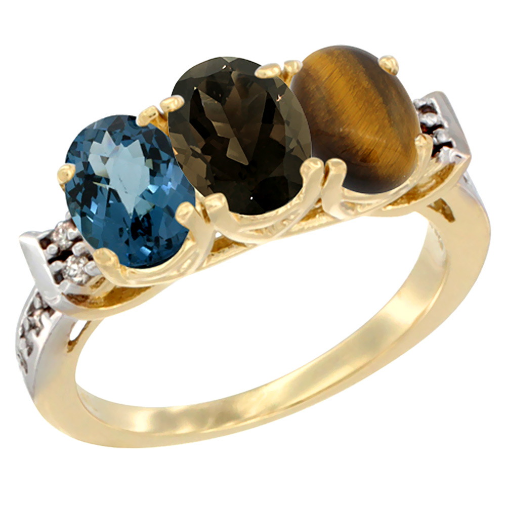 10K Yellow Gold Natural London Blue Topaz, Smoky Topaz & Tiger Eye Ring 3-Stone Oval 7x5 mm Diamond Accent, sizes 5 - 10