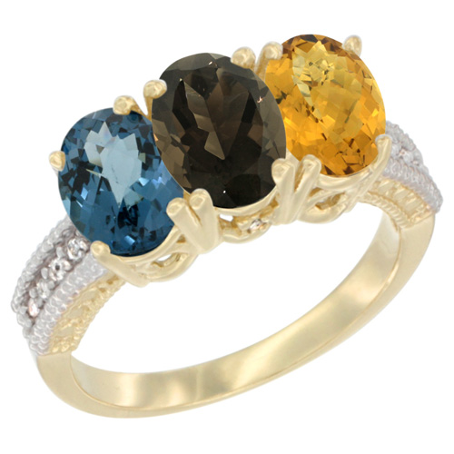 10K Yellow Gold Diamond Natural London Blue Topaz, Smoky Topaz & Whisky Quartz Ring 3-Stone Oval 7x5 mm, sizes 5 - 10
