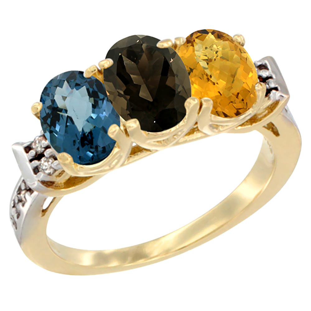 10K Yellow Gold Natural London Blue Topaz, Smoky Topaz & Whisky Quartz Ring 3-Stone Oval 7x5 mm Diamond Accent, sizes 5 - 10