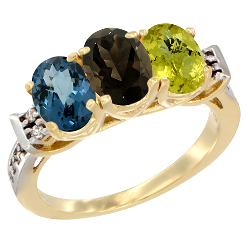 10K Yellow Gold Natural London Blue Topaz, Smoky Topaz & Lemon Quartz Ring 3-Stone Oval 7x5 mm Diamond Accent, sizes 5 - 10