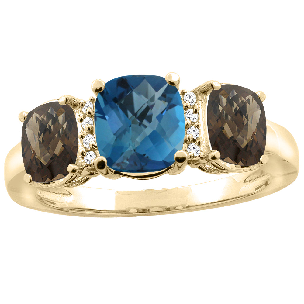 10K Yellow Gold Natural London Blue Topaz & Smoky Topaz 3-stone Ring Cushion 8x6mm Diamond Accent, sizes 5 - 10