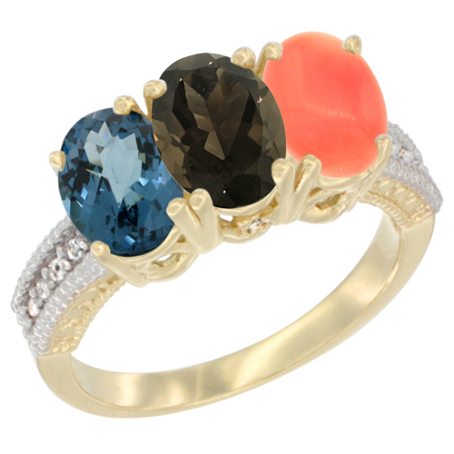 10K Yellow Gold Diamond Natural London Blue Topaz, Smoky Topaz & Coral Ring 3-Stone Oval 7x5 mm, sizes 5 - 10
